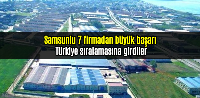 Samsunlu 7 firmadan büyük başarı Türkiye sıralamasına girdiler